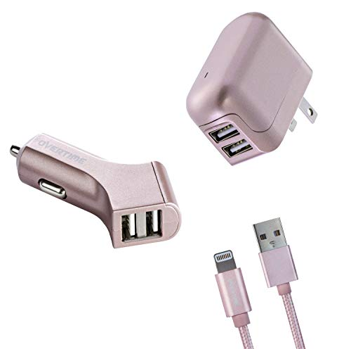 Overtime Lighting Charger Adapter Kit (3-Piece Set) 2.4 Amp Dual USB Car Home Charger, Plus 6ft Braided Cable | Compatible Apple iPhone, iPod, ()