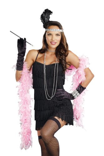 Dreamgirl Women's Flapper Costume, Black, X-Large (Black Dress Halloween Costumes)