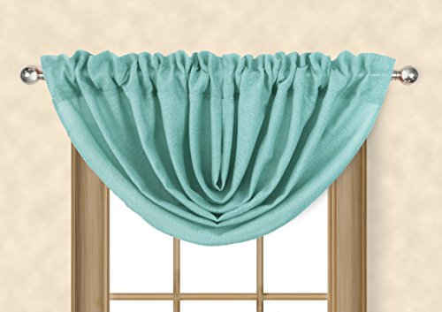 Aiking Home Vintage Faux Linen Waterfall Valance for Windows, Aqua ()