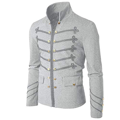 TOPUNDER Button Coat Men Coat Jacket Gothic Embroider Uniform Costume Praty Outwear Gray -
