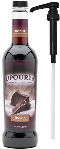 Upouria Mocha Naturally Flavored Syrup, 100% Vegan and Gluten-Free, 750 ml bottle - Pump Included