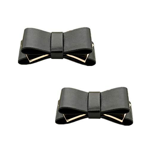 (Douqu A Pair Bridal Wedding Multi Colors Elegant Leather Bow Shoe Clips Shoe Accessories for Women Lady (Black))