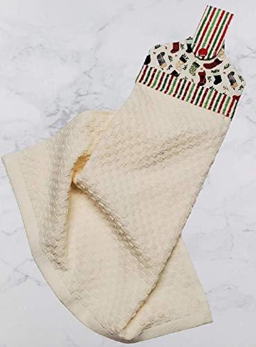 Christmas Stocking Print Hanging Dish Towel