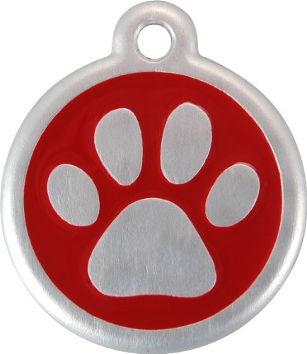 Red Dingo QR Collar Tag, Pawprint, Small, Red