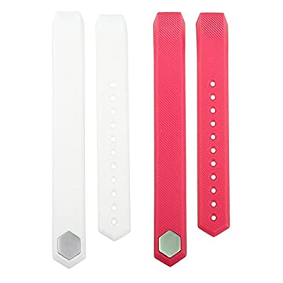 bayite Accessory Silicone Watch Band for Fitbit Alta HR and Alta, Pack of 2, White and Pink, Large Small