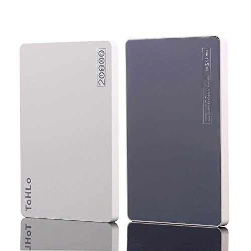 ToHLo Portable Charger Power Bank 20000mAh, Ultra Slim Dual USB Ports Portable External Power Bank Charger for iPhone 7 6 Plus 5s Samsung Galaxy S7 S6 S5 Sony HTC and most Smartphones Tablets (White)