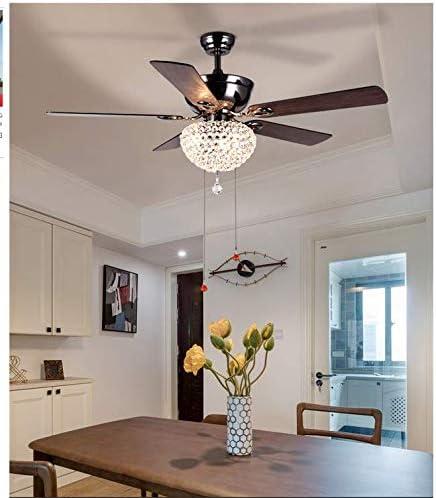 Sweety House 52 Ceiling Fan Crystal Chandelier Retro Drawstring Fan Chandelier Adjustable Fan Home Decoration Lighting Fan Chandelier 52 inches-Pearl Black