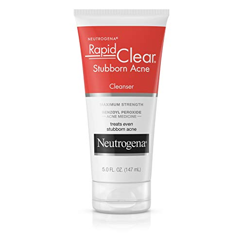 Neutrogena Rapid Clear Stubborn Acne Face Wash with 10% Benzoyl Peroxide Acne Treatment Medicine, Daily Facial Cleanser to Reduce Size and Redness of Acne, Benzoyl Peroxide Acne Face Wash, 5 oz