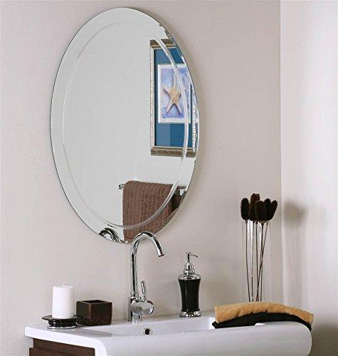 Decor Wonderland Frameless Oval Wall Mirror with Beveled -