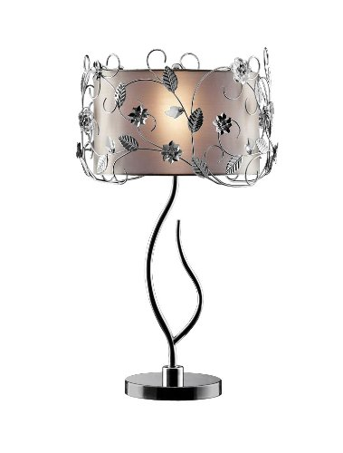 OK LIGHTING OK-5121T Silver Crystal Table Lamp, 34