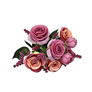 MaxFox Artificial Flower ,Blooming Rose Fake Bouquet for Bridal Wedding Home Decor,Party And Church (Hot Pink) 88
