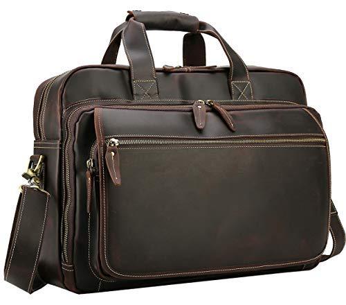 Polare Men's Full Grain Leather Professional 17' Messenger Laptop Tote Shoulder Bag