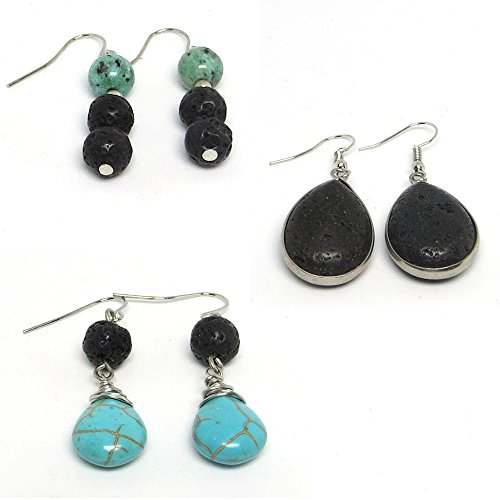 (Lava Stone Essential Oil Aromatherapy Earrings (Set of 3) for Diffusing Essential Oils)