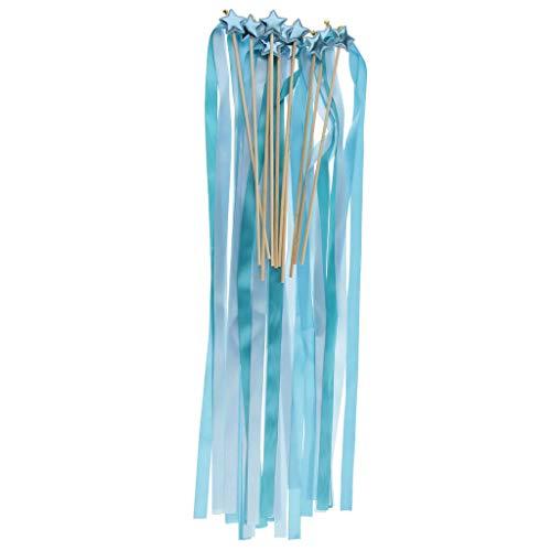 (10pcs Novelty Star Twirling Ribbon Wands Bells Favor Sticks Wedding Supplier |Color -)