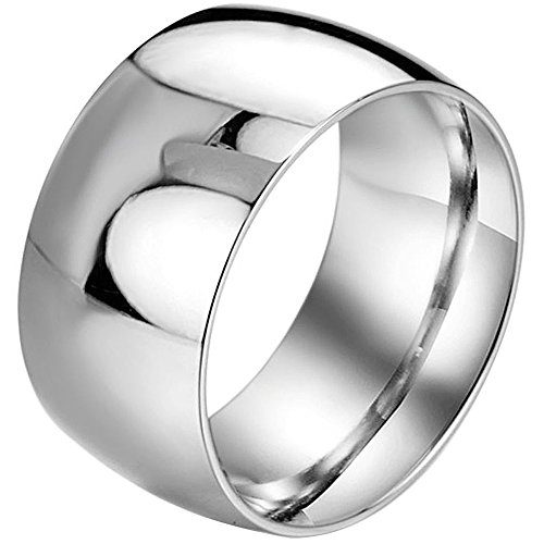 Men,Womens Wide 11mm Stainless Steel Ring Band Silver Classic Wedding Polished