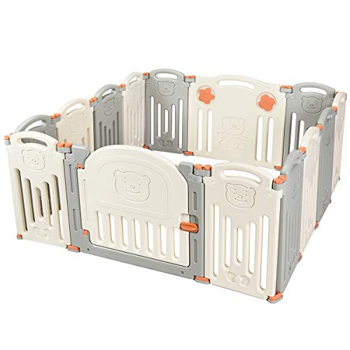 Costzon Baby Playpen, Kids 14-Panel Foldable Safety Activity Center Playard w/Walk-Through Locking Gate, Non-Slip Rubber Mats, Adjustable Shape, Portable Design for Indoor Outdoor Use (Beige + Gray)