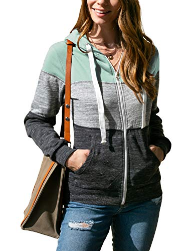 Doublju Lightweight Thin Zip-Up Hoodie Jacket for Women with Plus Size