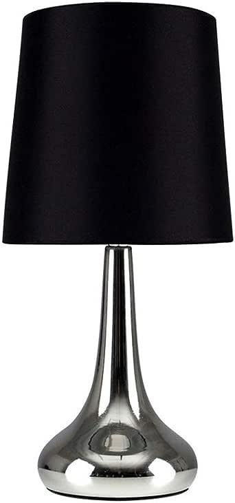 MiniSun - Set de 2 Lámparas de Mesa Táctiles - Bases Cromadas y Pantallas de Tela Negra - Estilo Forma de Gota - Lámparas de mesita: Amazon.es: Iluminación