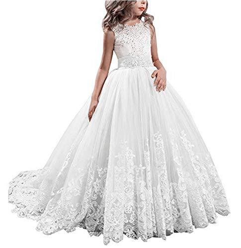 VeraQueen Children's Long Pageant Dresses for Girls Tulle Flower Girl Dress White]()