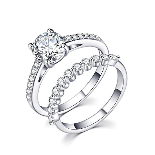 rongji jewelry Cubic Zirconia Wedding Stacking Ring - Sterling Silver Gem Grade CZ Ring Set for Women Engagement,Size8 by rongji jewelry