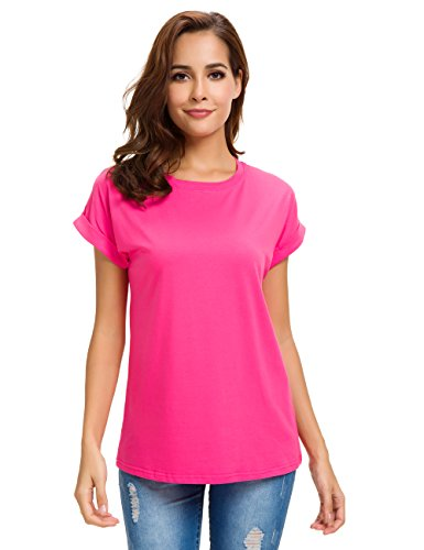 MSHING Women's Simple Crew Neck Plain Loose T-Shirt Summer Casual Tops Rose Red
