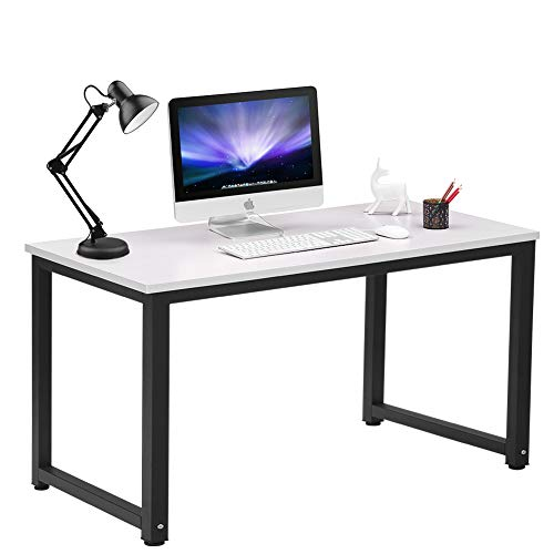 Coleshome Modern Simple Style Computer Desk PC Laptop Study Table Office Desk Workstation for Home Office,White + Black Leg
