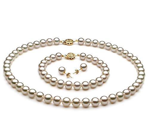 Blanc 7.5-8mm AAA-qualité Akoya du Japon 585/1000 Or Jaune-un set en perles