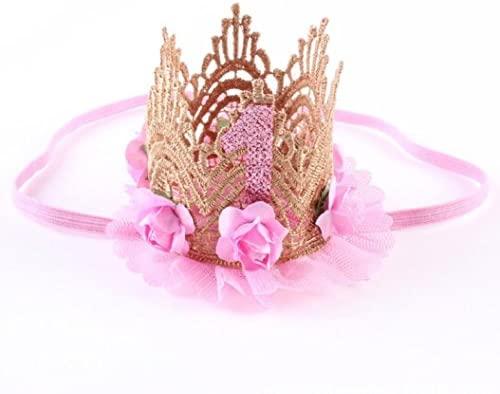 Arpoador Corona de cumpleaños 1 año bebé cumpleaños Corona Pelo Accesorio Princesa cumpleaños Diadema 1 Pieza