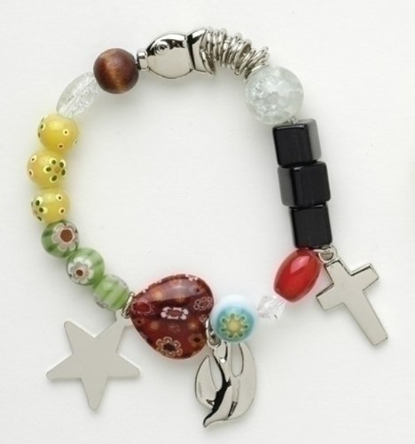 Roman Story of Jesus Christ Multicolor Beaded Charms Fashion Bracelet with Story Card, Adult Size