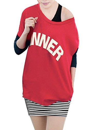 sourcingmap® Damen U-ausschnitt Shirt-w ärmellos Streifen Minikleid Rot schwarz XS - Damen, Mehrfarbig, XS