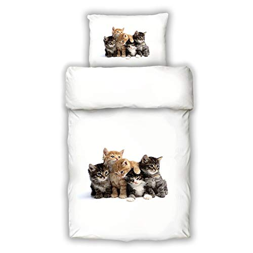 Schwanberg Bettwäsche Pussycat Weiß Katze Tiermotiv Renforcé Größe