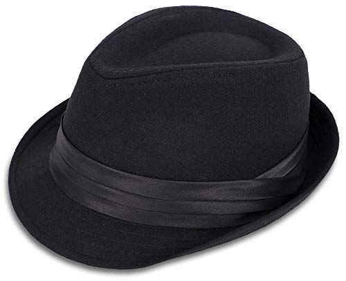 Simplicity Short Brim Teardrop Crown Wool Blend Fedora Hat 3076_Black]()