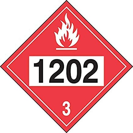 Black//White On Red Hazard Class 3 Funny Warning Stickers,Self Adhesive Vinyl,Safety Sign Label Decal Safety Sign 10-3//4 Height X 10-3//4 Width Diesel Fuel 1202