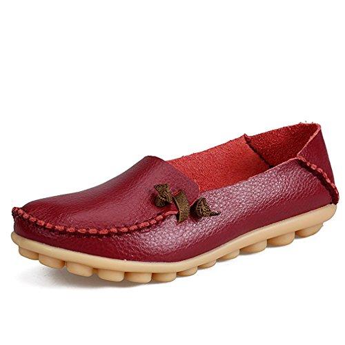 Bridfa Zapatos de mujer de cuero genuino Mujer Pisos ocasionales Mocasines de la madre Calzado de conducción de mujeres Zapato de barco sólido Wine Red