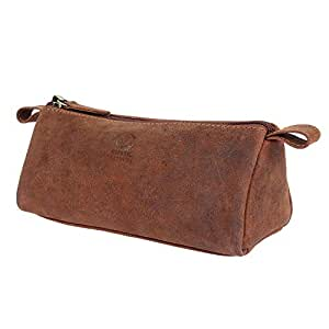 Rustic Town Leather Pencil Case - Zippered Pen Pouch for School, Work & Office(Brown)