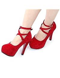 BeautyGal Women's Elegant Platform Cross Strap High Heels Pumps Shoes
