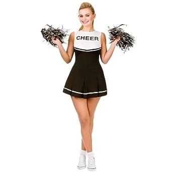 Ladies Black & White Cheerleader Fancy Dress Up Party Halloween ...