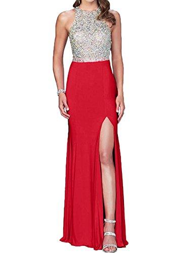 La novia de perlas de cristal de la Toscana para mujer dos-Traeger gasa por la noche vestidos de fiesta vestidos de bola Prom duro de largo Rojo