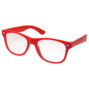 Kids Nerd Glasses Clear Lens Geek Fake for Costume Children's (Age 3-10) Red