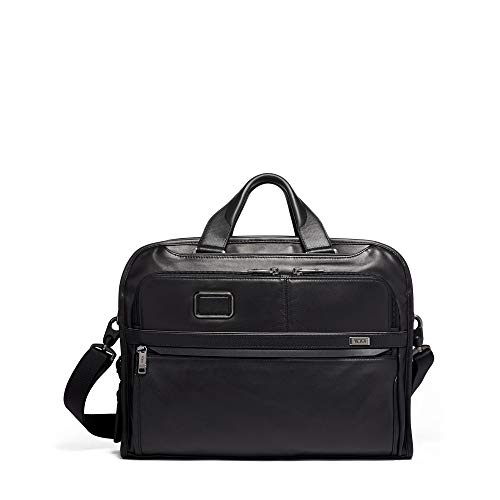(TUMI - Alpha 3 Organizer Portfolio Bag Brief Briefcase - Leather Briefcase for Men and Women - Black)