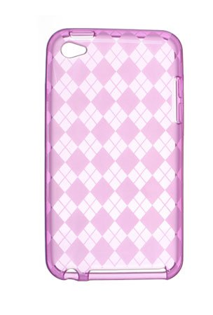(Premium TPU Flexi Soft Gel Skin for Apple iPod Touch 4th Generation, 4th Gen - Hot Pink Checkers Argyle Print)