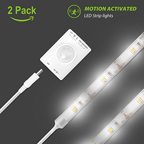 Sports Light Displays (Motion Activated LED Strip Light, Megulla Motion Sensor Night Light-39in, USB Rechargeable Battery, Stick Anywhere, Auto Shut Off Timer- for Under Cabinet, Closets and Wall Shelves -2Pack, Cool White)