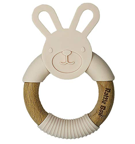 RattleBox Organic Teether with The Storage Box,, Silicone and Beech Wood Ring Teether, Teething Soother,Travelling Mom Gear, BPA Free Toy (Peach)
