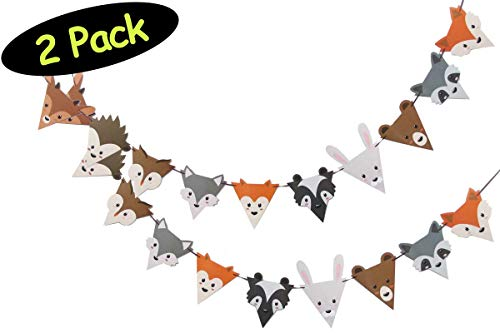 Woodland Forest Critters Animals Party Banners for Baby Shower or Birthday // 2-Pack]()