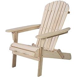 Giantex Wood Adirondack Chair Foldable Outdoor Fir Wood Construction for Patio Deck Garden Deck Furniture (Wood)