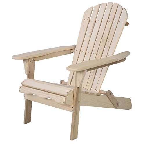 Giantex Wood Adirondack Chair Foldable Outdoor Fir Wood Construction for Patio Deck Garden Deck Furniture (Adirondack Deck Chair)