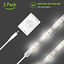 Motion Activated LED Strip Light, Megulla Motion Sensor Night Light-39in, USB Rechargeable Battery, Stick Anywhere, Auto Shut Off Timer- for Under Cabinet, Closets and Wall Shelves -2Pack, Cool White