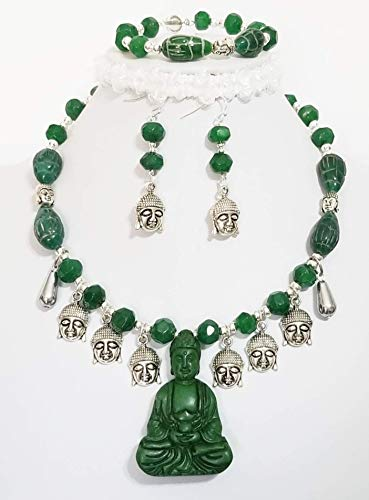 Claire Kern Creations Carved Jade Buddha Emerald Beads Gemstone Necklace Earrings Bracelet One of a Kind ()