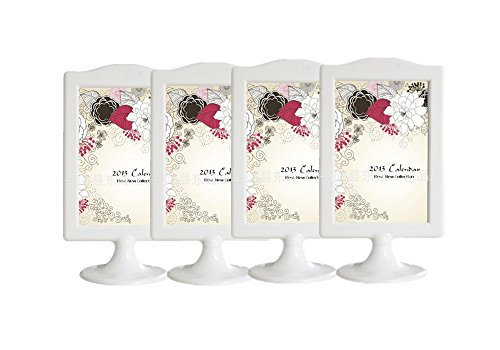 Leoyoubei Vertical Stand Photo Frame menu Box Double Display 2 Photos 4x6, Specimen Framework,Price tag, Culture Card,Ornaments Exhibition, 4 Pack (White)
