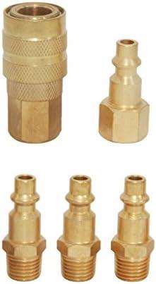 3タイプ選べる 鋼製カプラー 1/4 インチ クイックカプラ プラグ メスプラグ オスプラグ エアーホース用 金具 プロ エアオペレート装置 - ゴールデン